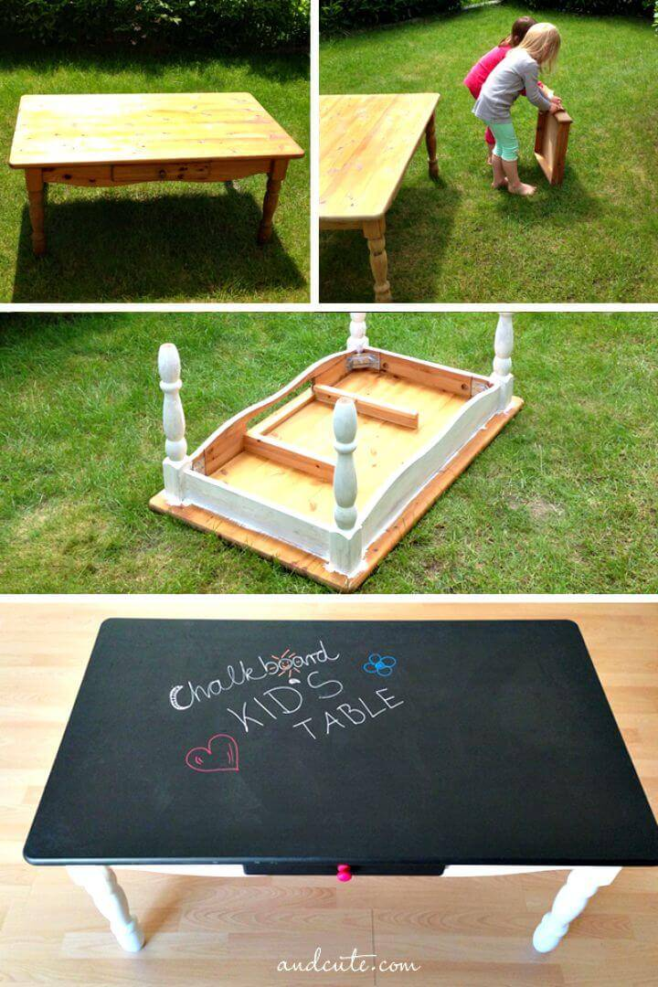Adorable DIY Chalkboard Kid's Table