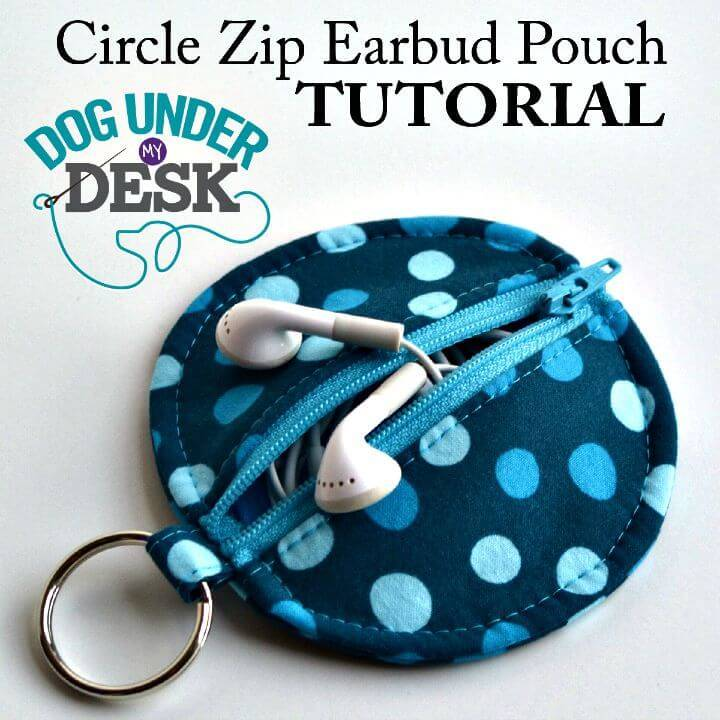 DIY Circle Zip Earbud Pouch