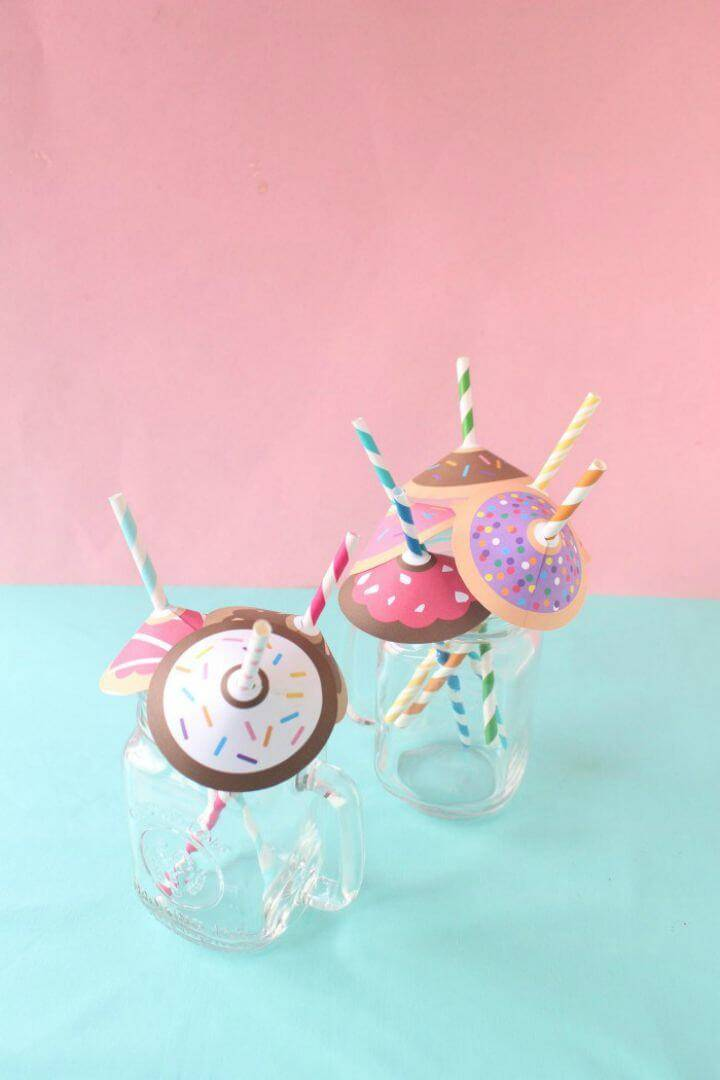 DIY Donuts Straw Umbrellas