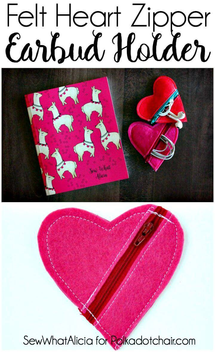 How to Make Felt Heart Earbud Pouch - DIY
