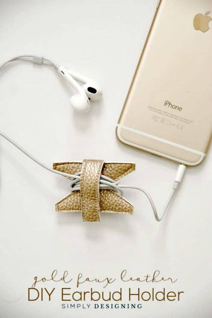 DIY Gold Faux Leather Earbud Holder Gift Idea