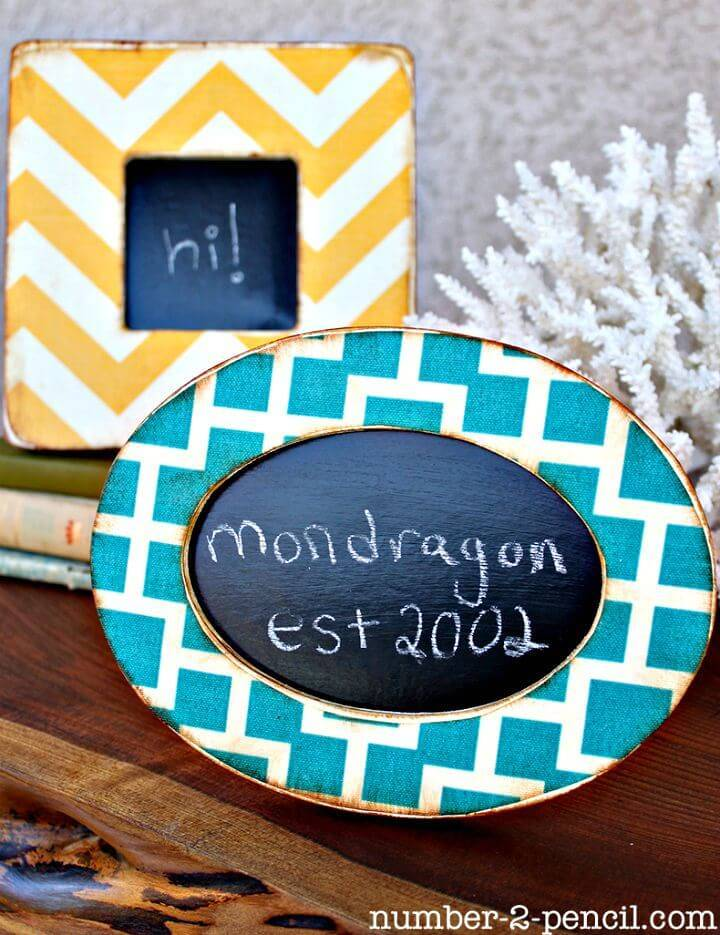 DIY Mod Podge Fabric Frames Using Chalkboard Paint