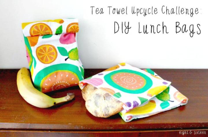 Easy to Make Tea Towel Lunch Bags