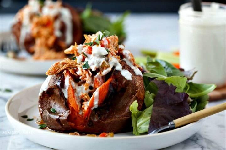 Easy Buffalo Chicken Stuffed Sweet Potatoes Recipe - DIY