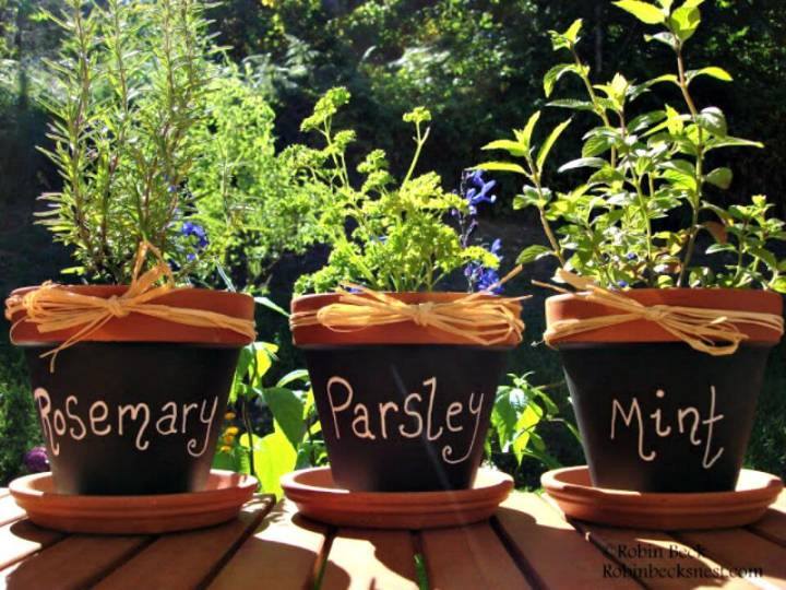 Easy DIY Chalkboard Clay Pots