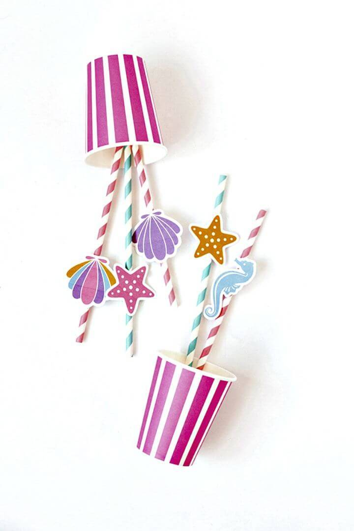 DIY Printable Under the Sea Straws Toppers