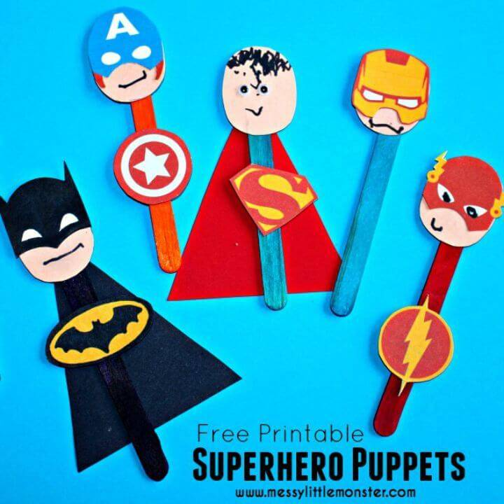 DIY Colorful Superhero Puppet Craft