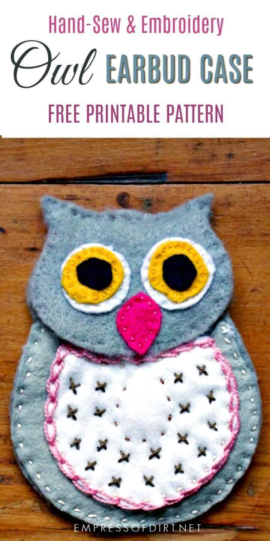 DIY Wool Felt Owl Earbud Case