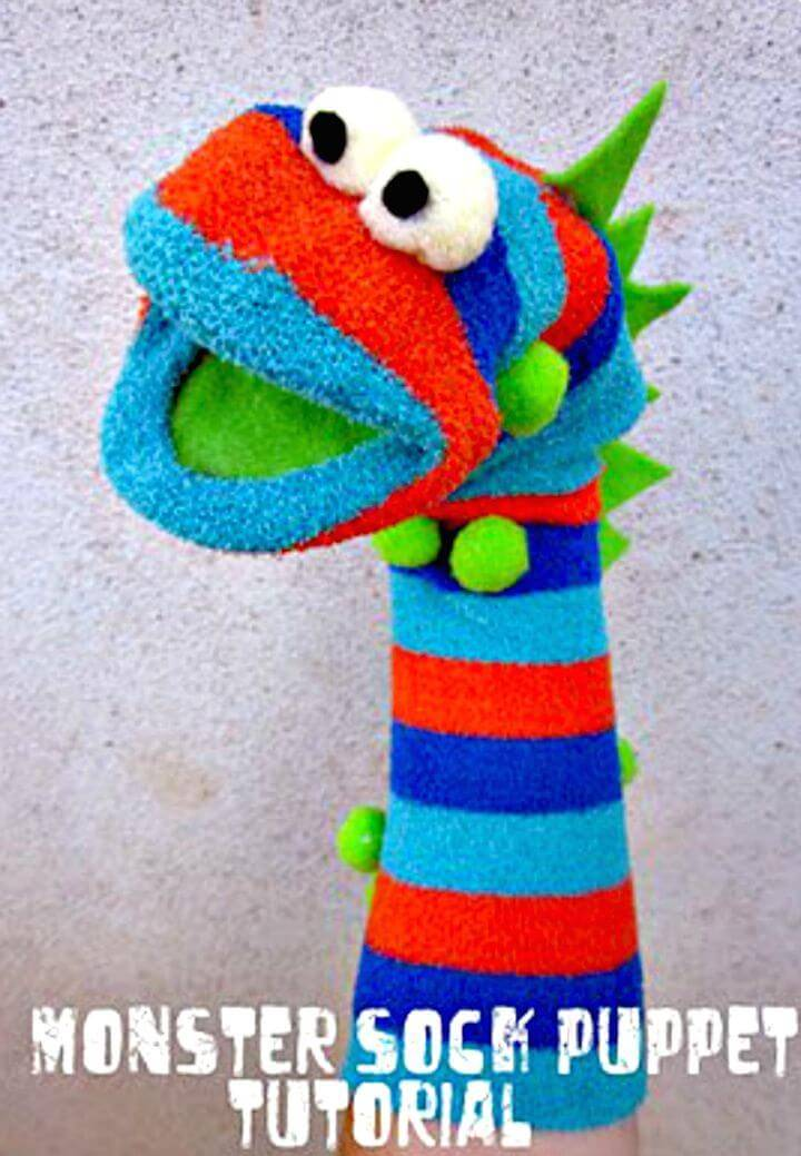 Easy To Create Monster Sock Puppet - DIY for Kids