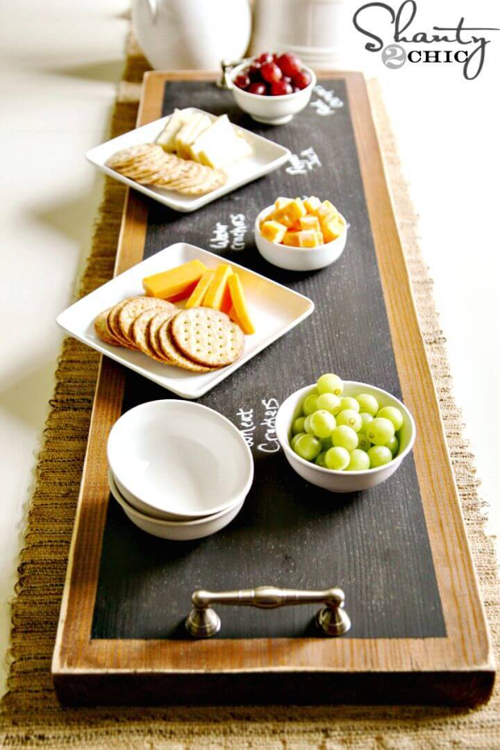 Easy DIY Chalkboard Serving Tray