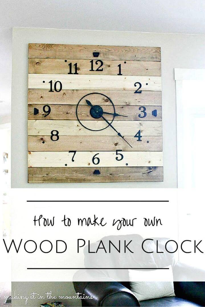 Easy To Make Rustic Wood Plank Clock - DIY Wall Art Ideas