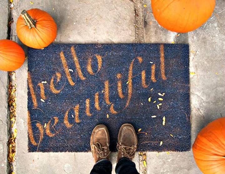 Cheap DIY Hello Beautiful Doormat  Tutorial