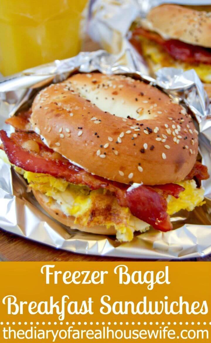 Freezer Bagel Breakfast Sandwiches Recipe