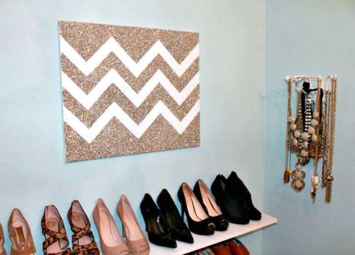 How To Make Glitter Chevron Art - DIY