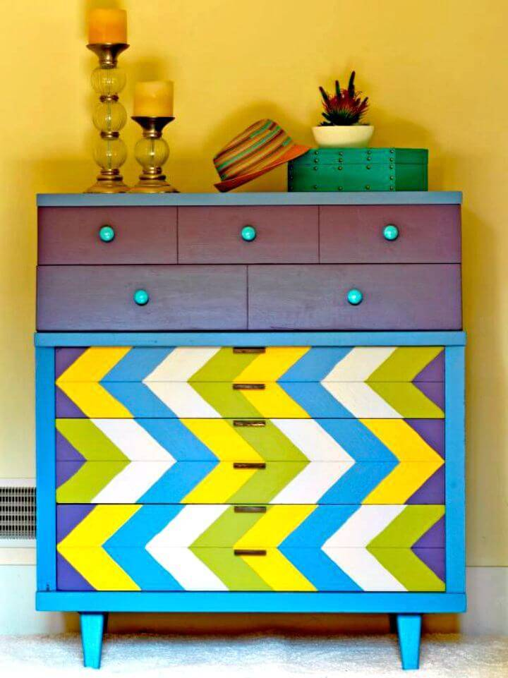 How To Paint A Chevron-patterned Dresser - DIY