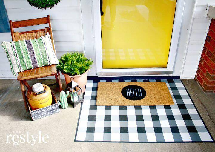 DIY Painted Buffalo Check Layered Doormat Tutorial