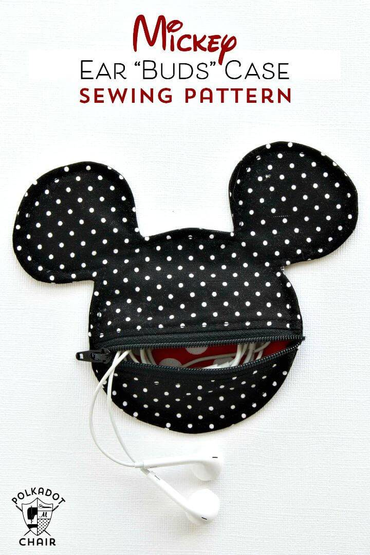 How To Sew Mickey Mouse Inspired Earbud Pouch - DIY
