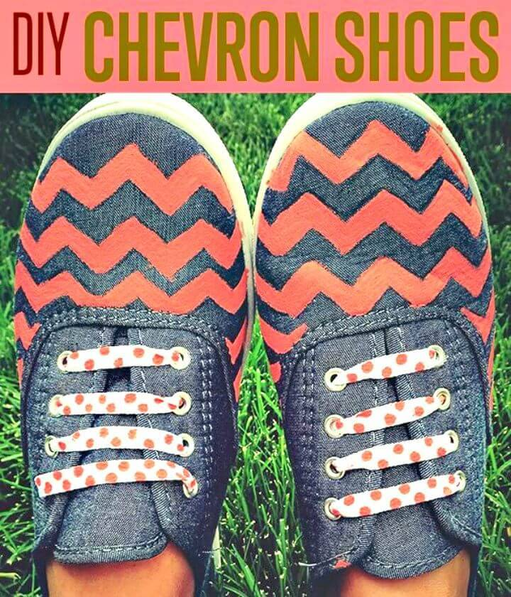Make Chambray Chevron Pattern Shoes - DIY