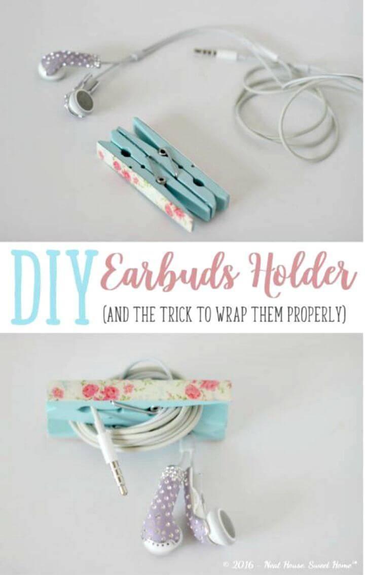 Make Earbuds Holder Using Clothespins - DIY