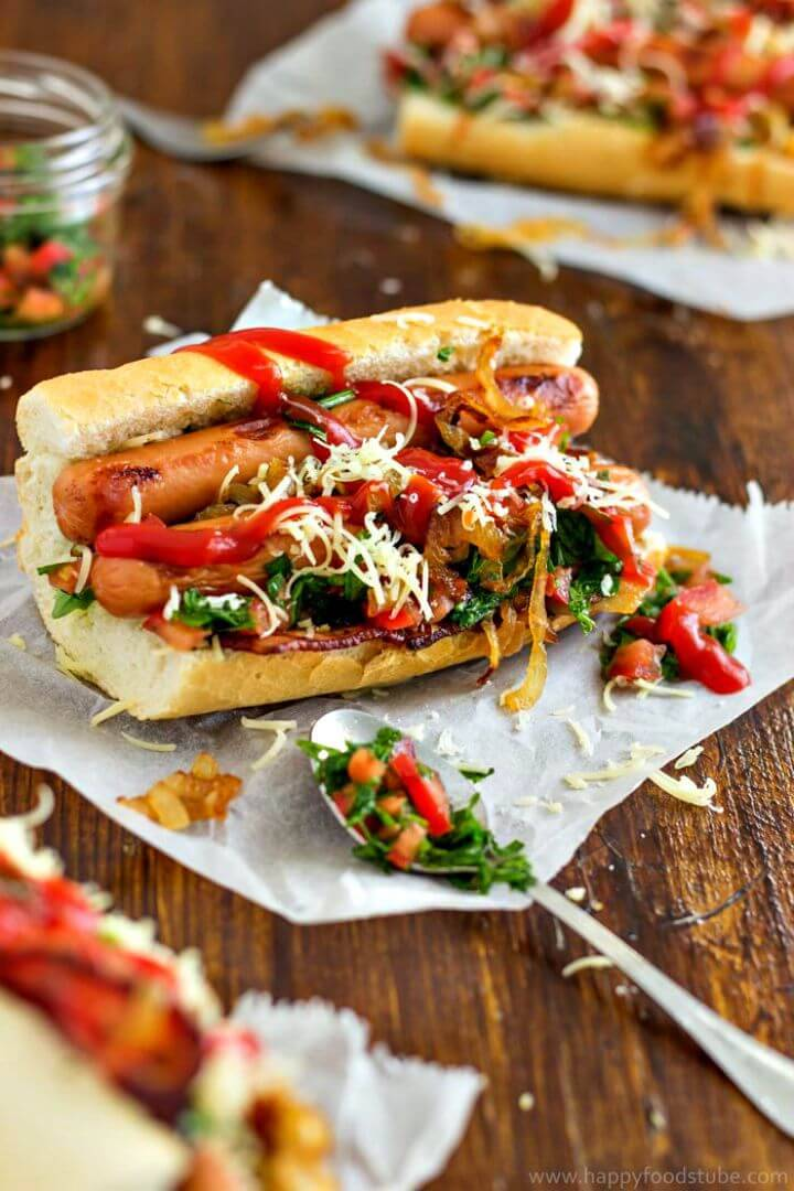 Gourmet Hot Dog With Bacon and Salsa Recipe