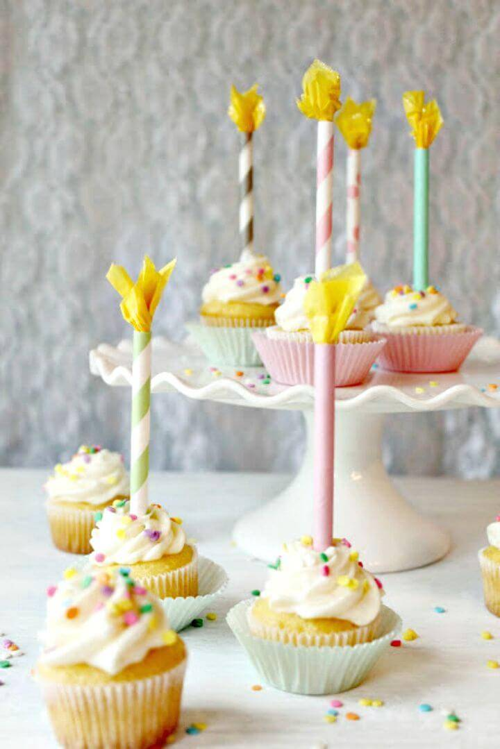 Make Paper Straw Birthday Candle Cupcake Toppers