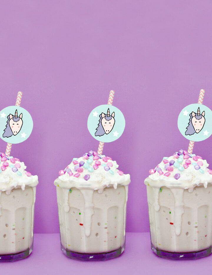 Awesome DIY Unicorn Straw Cake Milkshake Toppers