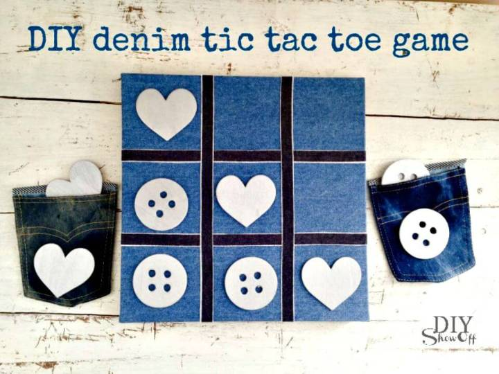 Make Your Own Denim Tic Tac Toe - DIY Game Projects