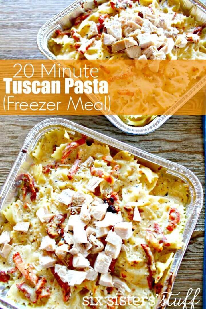 20 Minutes Tuscan Pasta (Freezer Meal) Recipe - DIY