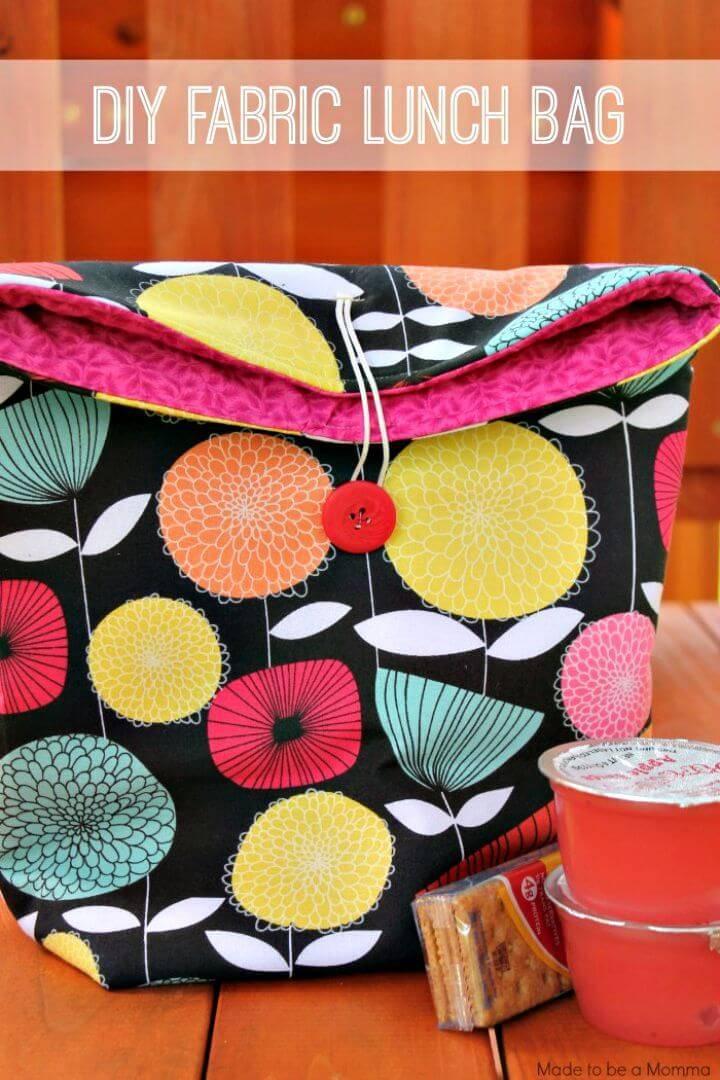 Super Easy DIY Fabric Lunch Bag
