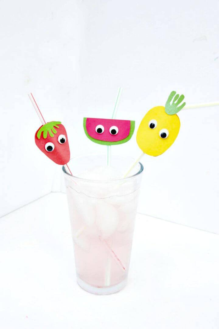 Super Cute DIY Fruit Straw Toppers