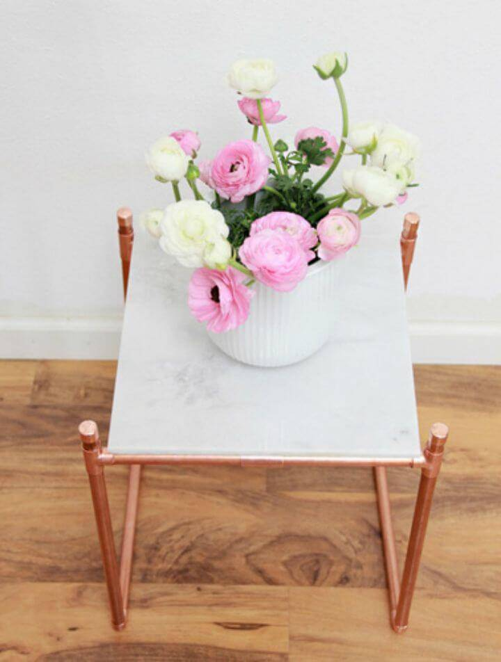 Adorable DIY Copper Pipe Marble Plant Stand