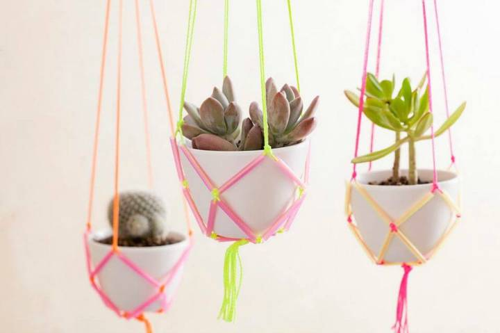Make Neon Straws and String Hanging Planters