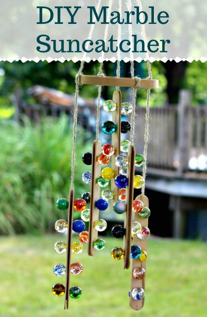 Beautiful DIY Marble Suncatcher Mobile for Outdoor