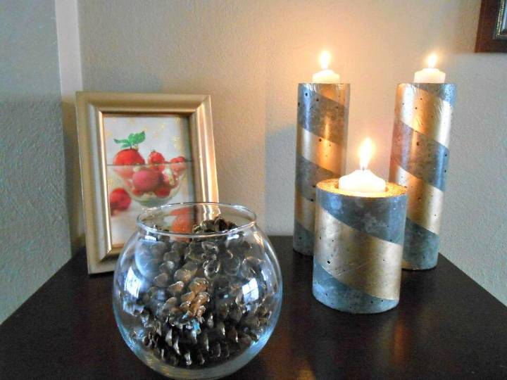 DIY Concrete Candle Holders: