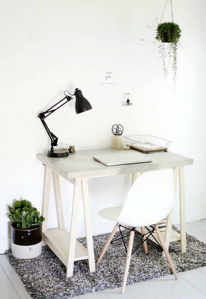 DIY Desk with Concrete Desktop and Wood Legs