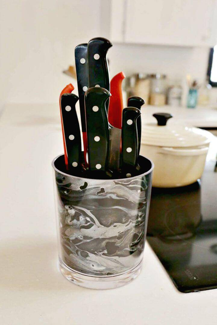 How to Make Marbled Knife Holder - DIY Kitchen Accessories