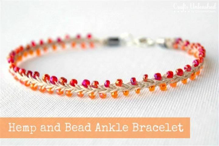 DIY Bead and Hemp Summer Ankle Bracelet