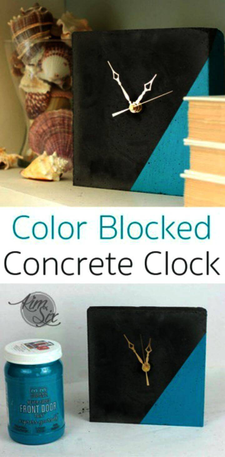 DIY Concrete Clock with Color Blocking