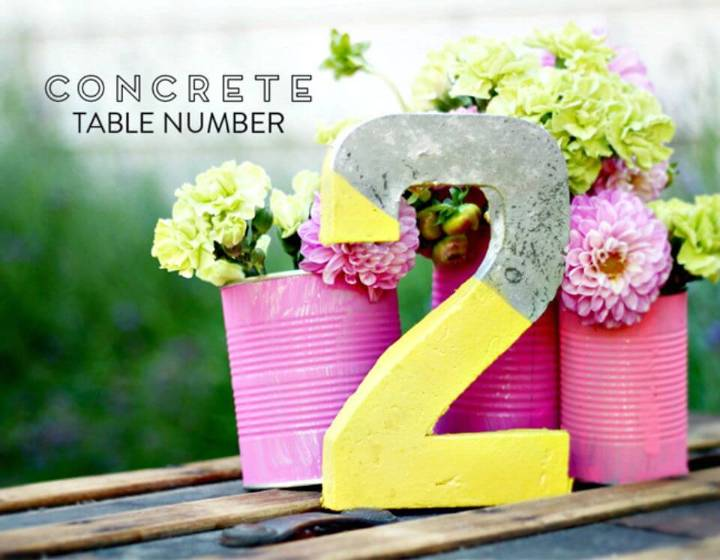 DIY Concrete Table Numbers for A Wedding Or Event