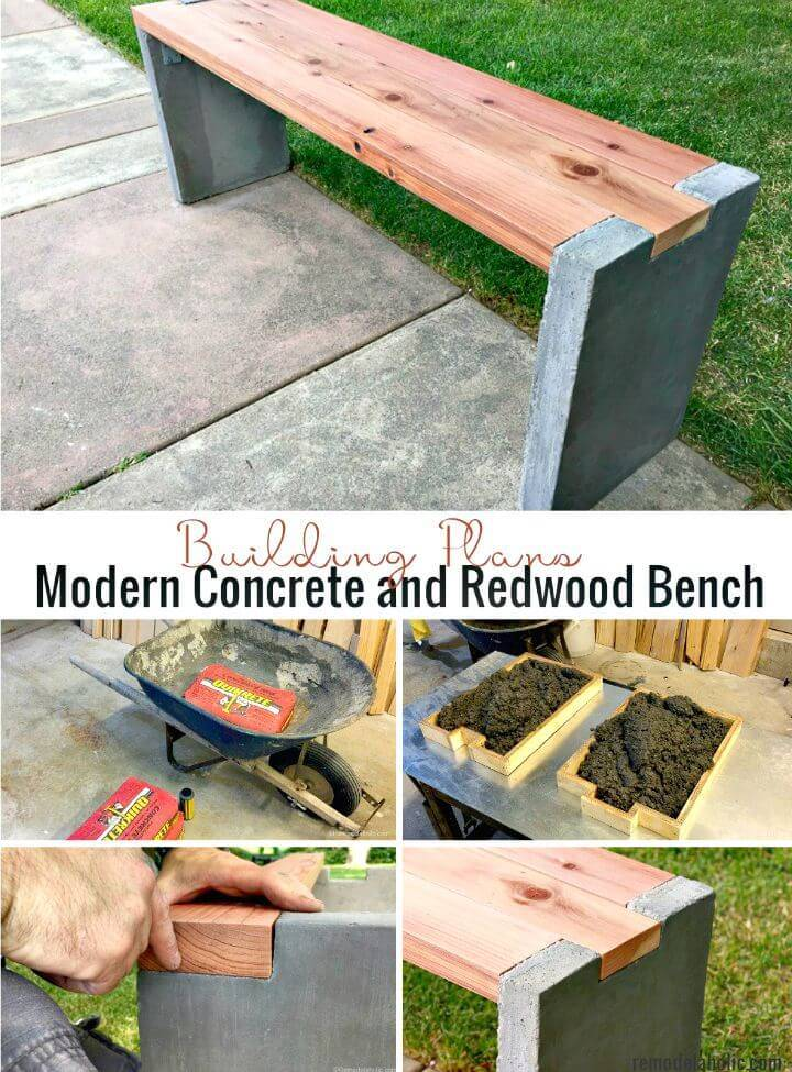 DIY Concrete and Redwood Bench
