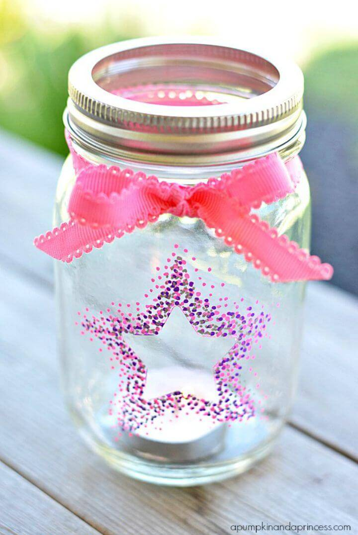 DIY Confetti Star Mason Jar Lanterns Made with Sharpie Paint