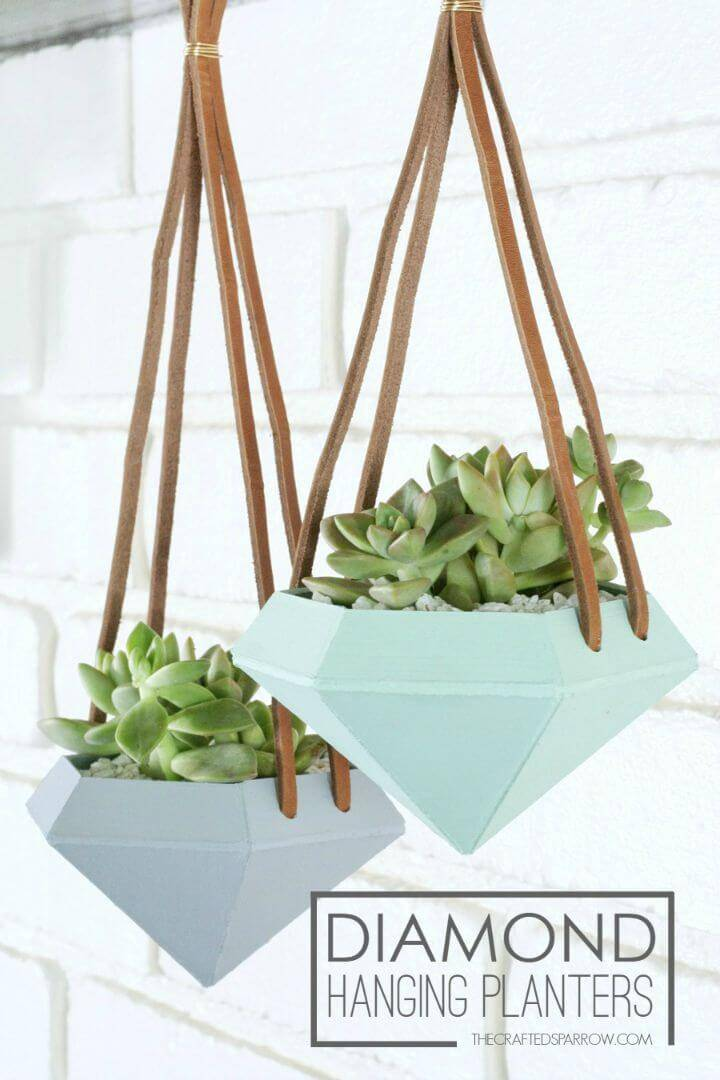 DIY Diamond Hanging Planters - Indoor Garden Ideas