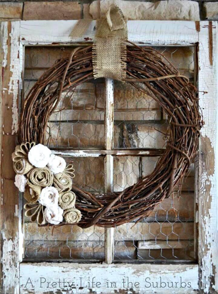 Simple DIY Grapevine & Burlap Fall Wreath