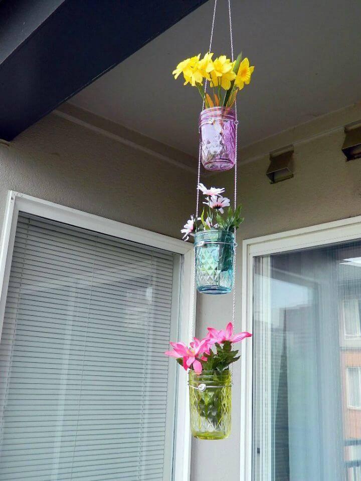DIY Indoor Hanging Mason Jar Planters