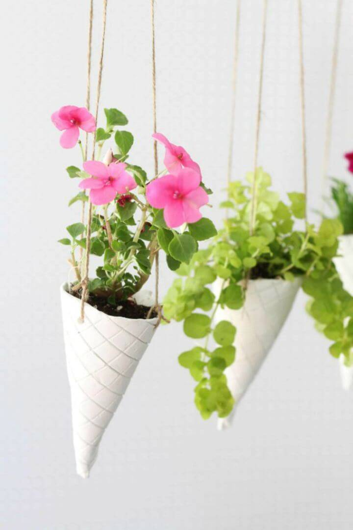 Make an Ice Cream Cone Hanging Planters