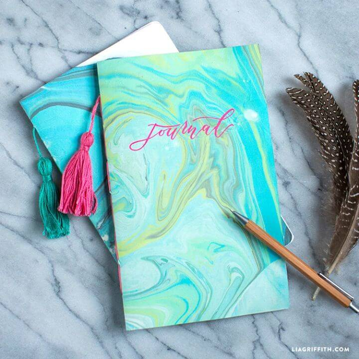 DIY Marbled Paper Journal