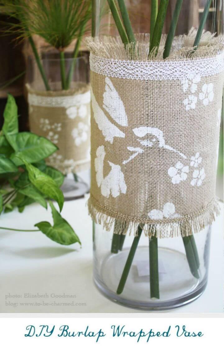 DIY Burlap Wrapped Vase