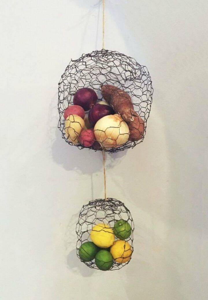 Easy DIY Hanging Chicken Wire Fruit Produce Baskets