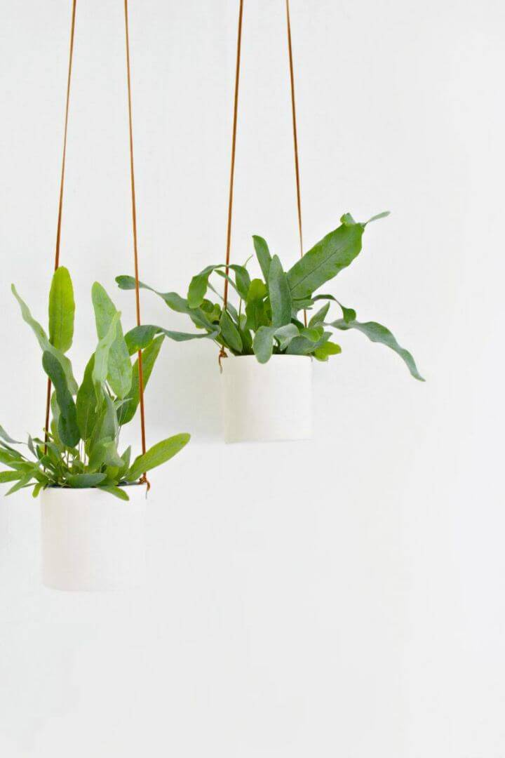 DIY Leather and Clay Hanging Planters