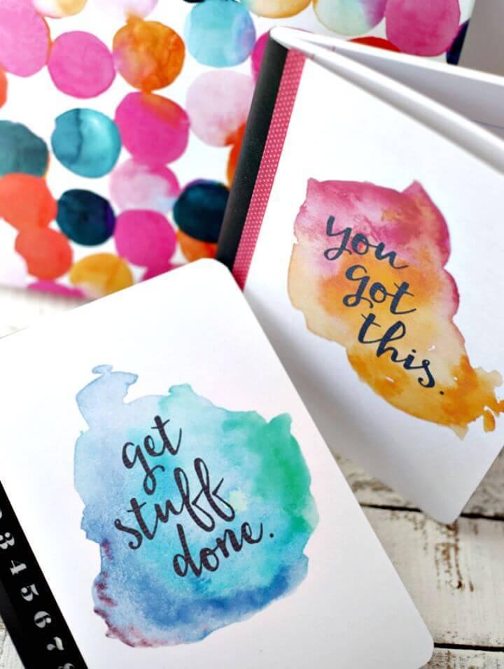 DIY Printable Watercolor Notebook Covers